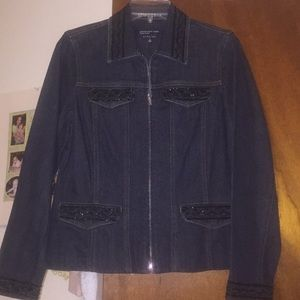 Jeans indigo blue denim zip front jacket